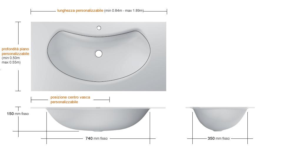 Glass washbasin with banana shaped basin