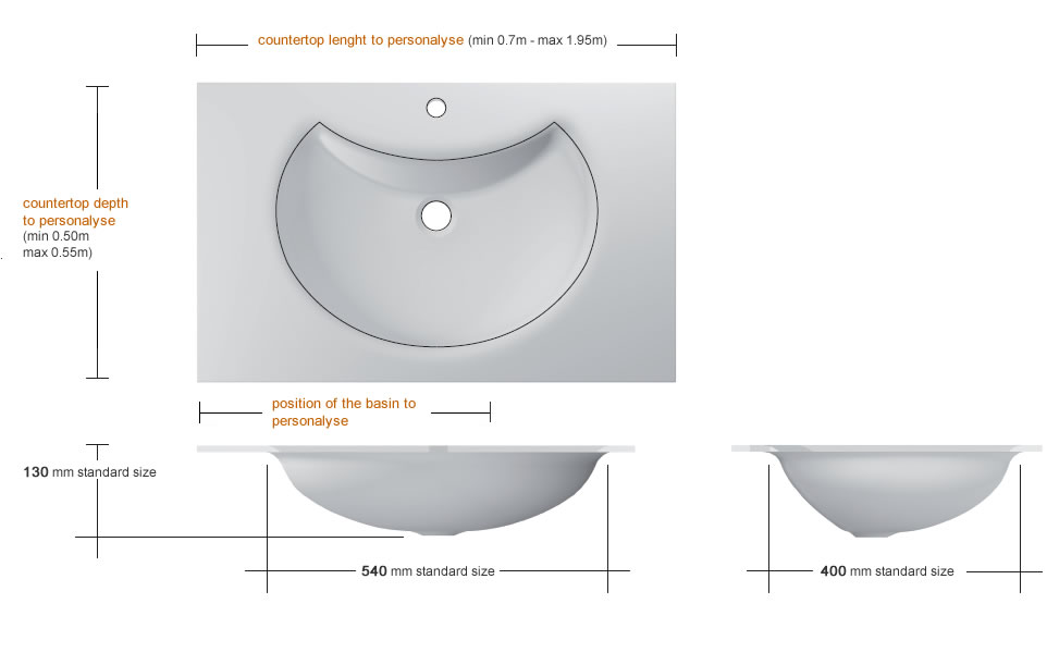 Glass washbasin with moon shaped basin