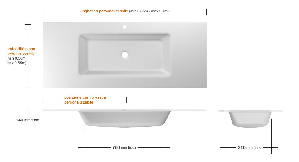 Lavabo in vetro rettangolare 750
