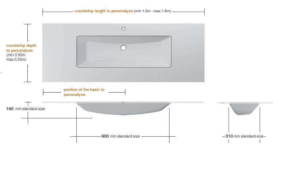 Glass washbasin with rectangular basin 900