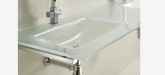 Rectangular double basin washbasin 540 clamps-mounted, shiny finish, semitransparent satin-coloured